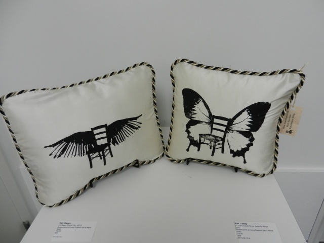 """If Chairs Could Fly"" prints on handmade dupioni silk pillows. Bird and Butterfly."